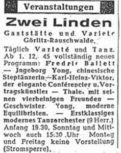 Annonce Zwei Linden 1945