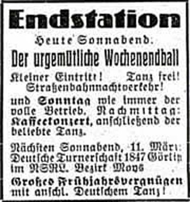 Annonce Endstation 1939