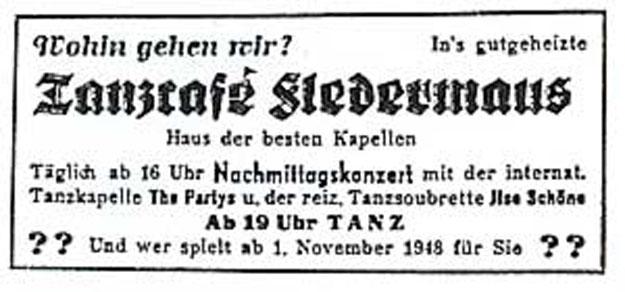 Annonce Tanzcafé Fledermaus 1948