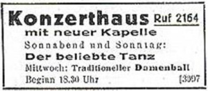 Annonce Konzerthaus 1948