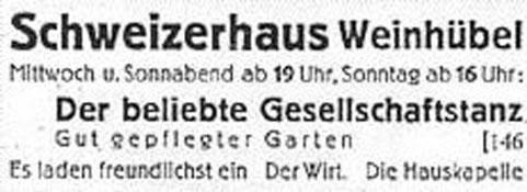Annonce Schweizerhaus 1947