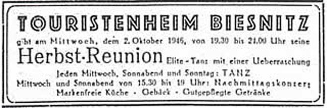 Annonce Touristenheim 1947