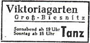 Annonce Viktoriagarten 1948